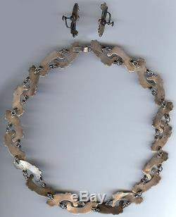 Los Ballesteros Vintage Beauty Mexico Sterling Silver Necklace & Earrings Set