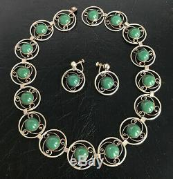 Los Ballesteros Vintage Mexican Sterling Silver Green Onyx Necklace Earrings Set