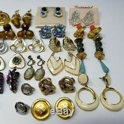Lot of 33 Vintage Signed Earrings LOT -Barclay, Sherman, Kramer, Trifari, Coro, Sterl