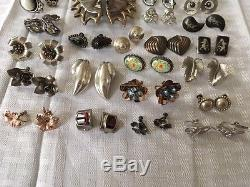 Lot of Vintage screw back 204g Sterling Silver 925 Earrings in Great Condition