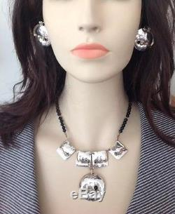 Louis Booth Vintage Sterling Necklace & Earring Set with Onyx Hand Sign By Booth