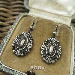Lovely Antique Victorian Sterling Silver Drop Earrings
