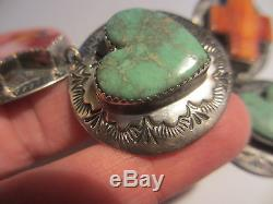 MAGNIFICENT HUGE VINTAGE NAVAJO STERLING-TURQUOISE&SPINEY OYSTER EARRINGS-RODEO