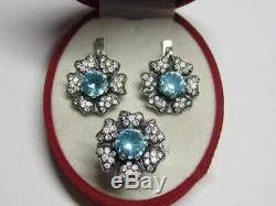 MARVELOUS VINTAGE EARRINGS RING BLUE STONES STERLING SILVER 925 RUSSIAN Size 7