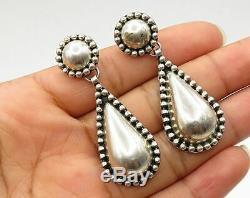 MEXICO 925 Sterling Silver Vintage Domed Tear Drop Stud Drop Earrings E2925