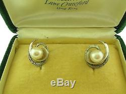Mikimoto Vintage 7.1 MM Pearls Earrings Sterling Silver Mountings Org. Box