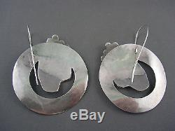 MOGUL! Vtg STERLING Native American Haida Artist Medallion RUNWAY Earrings