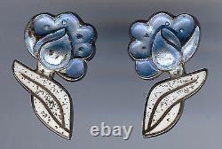 Margot De Taxco Vintage Mexico Sterling Blue & White Enamel Flower Earrings