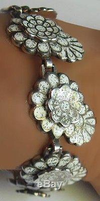 Margot De Taxco Vtg Mexico Sterling Enamel Flower Necklace Bracelet Earrings Set