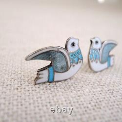 Margot de Taxco Enamel Sterling Silver Dove Earrings Mexican Modern Bird MCM Vtg