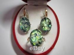 Marvelous Vintage Earrings Ring Size 9 Opal Sterling Silver 925 & Gold 375