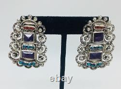 Matl Vintage MS-12 M. Regis Mexican Sterling Silver Amethyst Earrings
