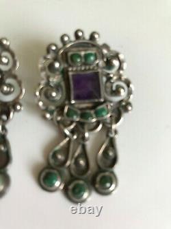 Matl Vintage MS-12 M. Regis Mexican Sterling Silver Amethyst/Turq. Earrings