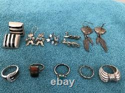 Mexican Native American Othr Sterling Jewelry Lot+Vintage Costume NWT, Marcasite
