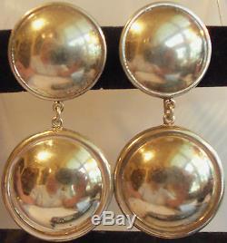 Mexico Ts Sterling Silver 925 Large 3 Inch Long Dangle Pierce Earrings Vintage