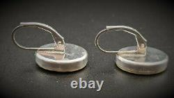 Micro Mosaic Earrings in Sterling Silver, Italy, Grand Tour, Souvenir Jewelry