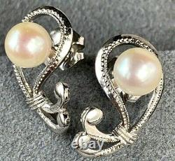 Mikimoto Pearl Sterling Silver Textured Scroll Openwork Paisley Vintage Earrings