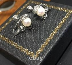 Mikimoto Vintage Sterling Silver Cultured Pearl Screw Back Earrings