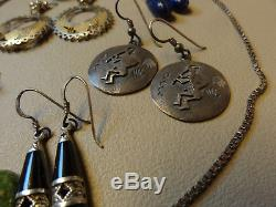 Mixed Vintage Jewelry Lot Scrap 14k Gold 925 Sterling Silver Earrings, Necklace