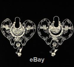Monumental Mexican Vintage Sterling Silver Palomas Earrings