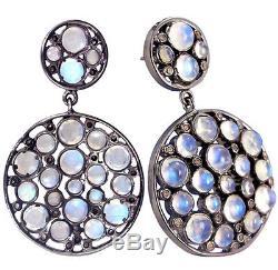 Moonstone 925 Sterling Silver Drop Dangle Earrings Diamond Vintage Style Jewelry