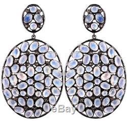 Moonstone Dangle Earrings Diamond Sterling Silver Earrings Vintage Style Jewelry