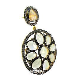 Moonstone Diamond 14K Gold Dangle Earrings Sterling Silver Vintage Look Jewelry