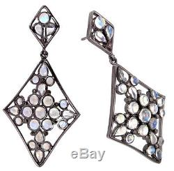 Moonstone Diamond Pave 925 Sterling Silver Vintage Style Dangle Earrings Jewelry