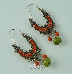 Musi Hunt Sterling Coral Turquoise Drop Dangle Vintage Earrings Silver Sundance