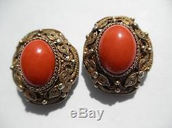 NR Antique Vtg Chinese Salmon Coral Filigree Gilt Sterling Silver Earrings Clip