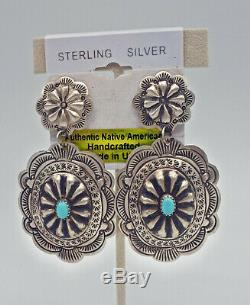 Native American Navajo Vintage Style Sterling Silver Concho Earrings Post