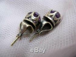 Natural Alexandrite Vintage Pin Earrings Russian USSR Gilt Sterling Silver 875