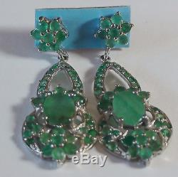 Natural! Emerald Earrings 42.25 ct 925 Sterling Silver, Vintage Estate Jewelry