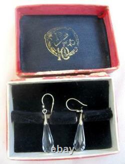 Natural Rock Crystal Earrings Gilt Sterling Silver 875 Vintage Soviet USSR Box