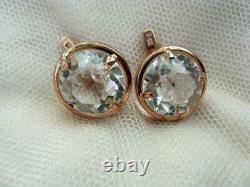 Natural Rock Crystal Gemstone Vintage Gilt Sterling Silver 875 Earrings USSR