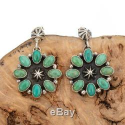 Navajo Turquoise Earrings Green Cluster Sterling Silver Vintage Style Dangles