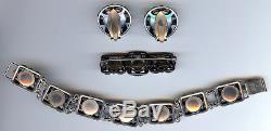 Ne From Denmark Vintage Sterling Silver Flower Leaves Bracelet Pin Earrings Set