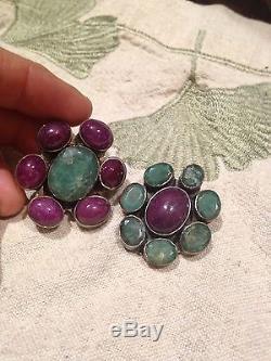 Nemesis Vintage Genuine Ruby Real Emerald 925 Sterling Silver Clip On Earrings