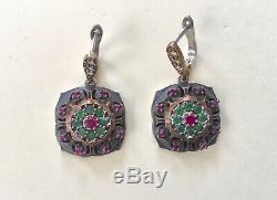 New! Three Pairs Vintage Style Emerald Ruby 925 Solid Sterling Silver Earrings