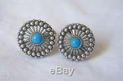 New Vintage Unique Sterling Silver Russian European Earrings Round Turquoise
