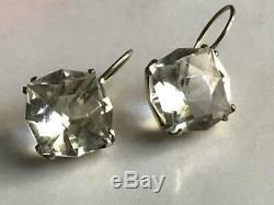 Nice Rock Crystal Vintage USSR Gilt Sterling Silver 875 Earrings Jewelry 5.5g