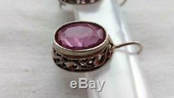 Nuge Vintage Soviet USSR Gilt Sterling Silver 875 Woman Earrings Jewelery