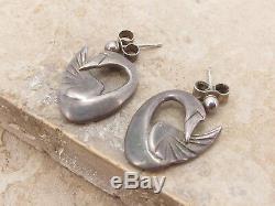 OLA GORIE Vintage Scottish Designer Sterling Silver 925 Modernist Swan Earrings
