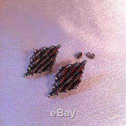 OLD DEAD PAWN Coral Earrings Pettipoint Sterling Silver Vintage Zuni