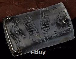 OLD Pawn Vintage Lawrence Saufkie Hopi Sterling Silver KOKOPELLI Belt Buckle