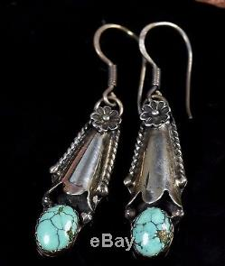66e0a3491 Old Pawn Vintage Navajo Old Turquoise Squash Blossom Sterling Dangle  Earrings