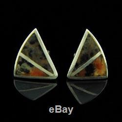 O Solberg Danish Sterling Silver Bangle and Earrings Set w Jasper Stones Vintage
