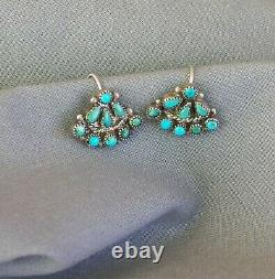 Old Vintage Fred Harvey Era Sterling Silver Petit Point Turquoise Earrings