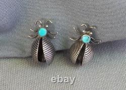 Old Vintage Native American Handmade Sterling Turquoise Bug Screwback Earrings