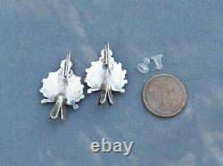 Old Vintage Native American Sterling Silver Turquoise Cluster Squash Earrings